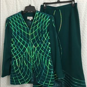 Women's green suit with skirt